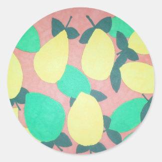 Lemons and Limes Citrus Fresh Pattern Classic Round Sticker