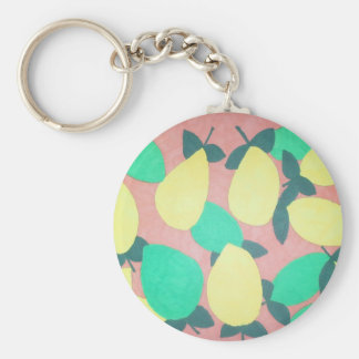 Lemons and Limes Citrus Fresh Pattern Keychain