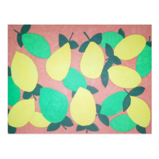 Lemons and Limes Citrus Fresh Pattern Postcard