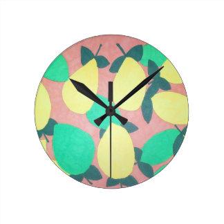 Lemons and Limes Citrus Fresh Pattern Round Clock