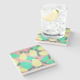 Lemons and Limes Citrus Fresh Pattern Stone Coaster