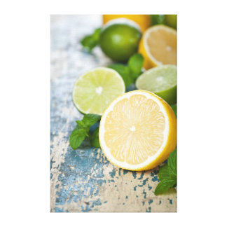 Lemons And Limes With Fresh Mint Canvas Print