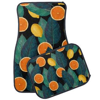lemons and oranges black car mat