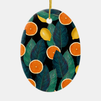 lemons and oranges black ceramic ornament