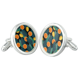 lemons and oranges black cufflinks