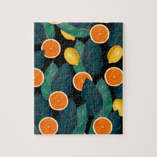 lemons and oranges black jigsaw puzzle
