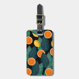 lemons and oranges black luggage tag