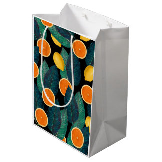 lemons and oranges black medium gift bag