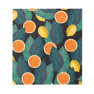 lemons and oranges black notepad