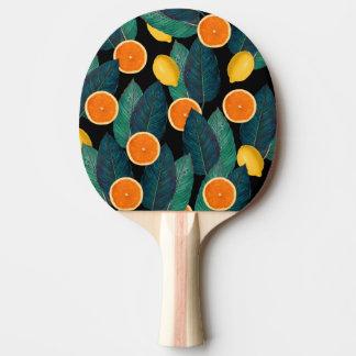 lemons and oranges black ping pong paddle