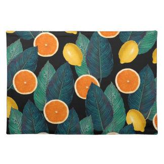 lemons and oranges black placemat