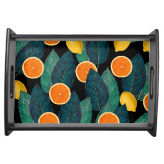 lemons and oranges black serving tray