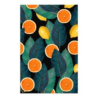lemons and oranges black stationery