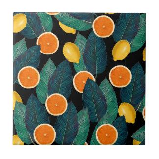 lemons and oranges black tile