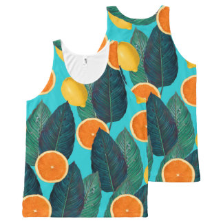 lemons and oranges teal All-Over-Print tank top