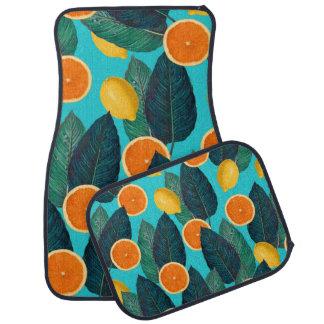 lemons and oranges teal car mat