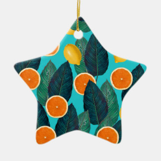 lemons and oranges teal ceramic ornament