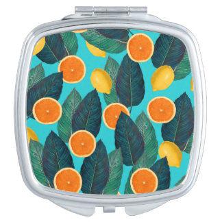 lemons and oranges teal compact mirror