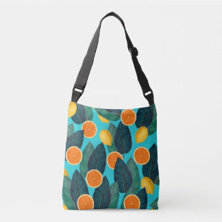 lemons and oranges teal crossbody bag