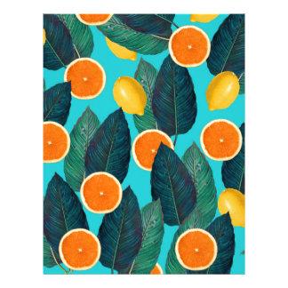 lemons and oranges teal custom letterhead