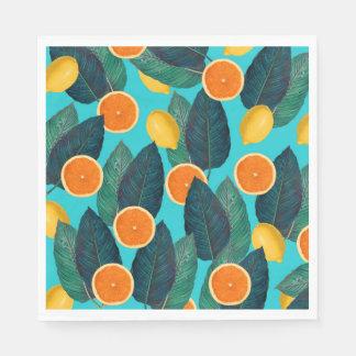 lemons and oranges teal disposable napkins