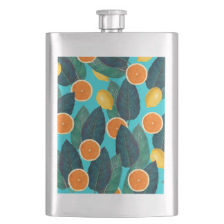 lemons and oranges teal flasks