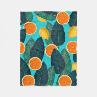 lemons and oranges teal fleece blanket
