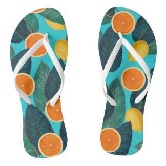 lemons and oranges teal flip flops