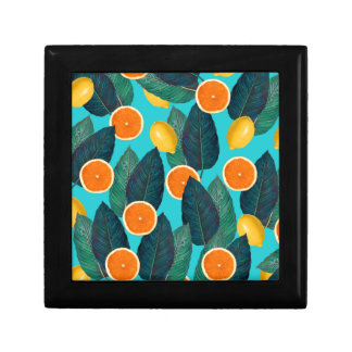 lemons and oranges teal gift box