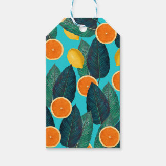 lemons and oranges teal gift tags