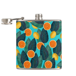 lemons and oranges teal hip flask