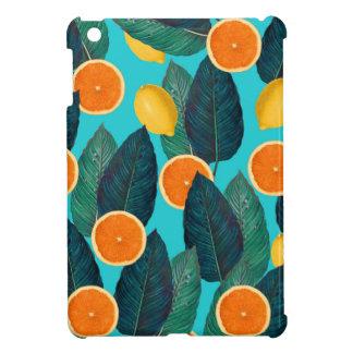 lemons and oranges teal iPad mini cover