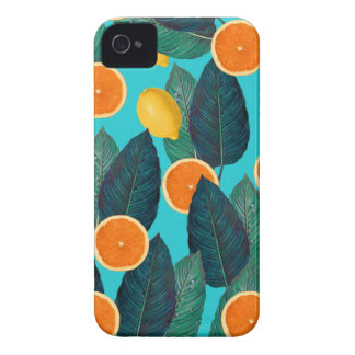 lemons and oranges teal iPhone 4 Case-Mate case