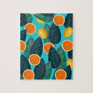 lemons and oranges teal jigsaw puzzle