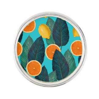 lemons and oranges teal lapel pin