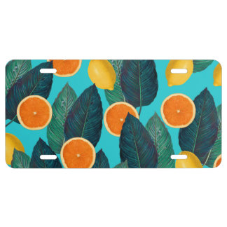 lemons and oranges teal license plate