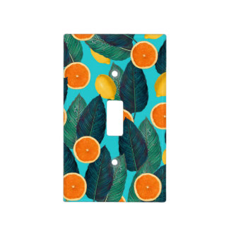 lemons and oranges teal light switch cover