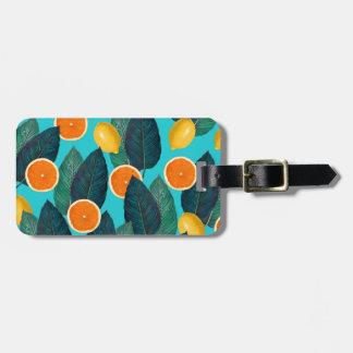 lemons and oranges teal luggage tag