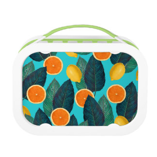 lemons and oranges teal lunch box