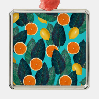 lemons and oranges teal metal ornament