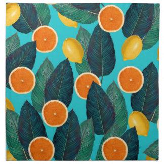 lemons and oranges teal napkin
