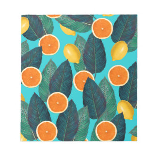 lemons and oranges teal notepad