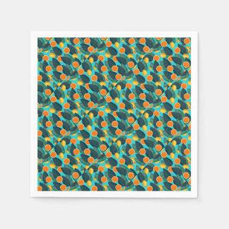 lemons and oranges teal paper napkins