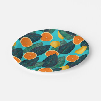 lemons and oranges teal paper plate
