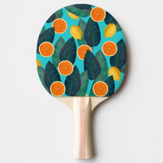 lemons and oranges teal ping pong paddle