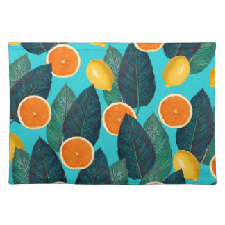 lemons and oranges teal placemat