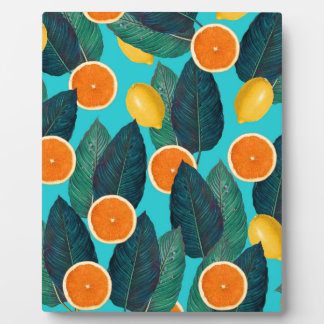 lemons and oranges teal plaque