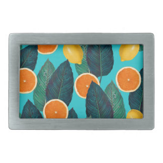 lemons and oranges teal rectangular belt buckle