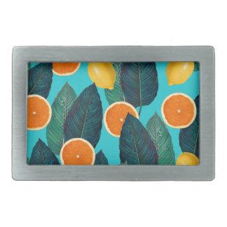 lemons and oranges teal rectangular belt buckles