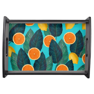lemons and oranges teal serving tray